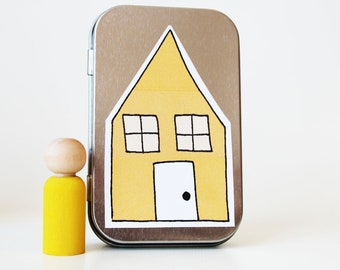 My Pocket Place - Yellow - Choose Your Color - Waldorf and Montessori Inspired Pretend Play Doll House Toy