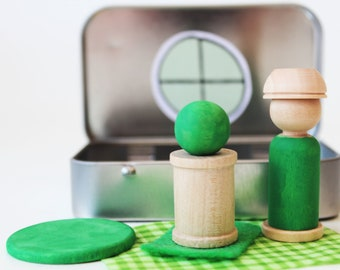 My Pocket Place - Green - Choose Your Color - Waldorf and Montessori Inspired Pretend Play Doll House Toy