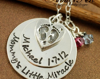 Personalized Necklace with Heart, Custom Hand Stamped