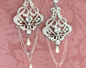 1920s Bridal Earrings, Vintage Bridal Earrings, Wedding Pearl Earrings, Gatsby Earrings, Vintage Pearl Earrings, Art Deco Wedding  - FAY
