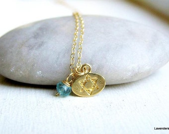 Star Of david Necklace , Magen David Coin Necklace , Apatite Necklace , Gold Necklace , 14K Gold Fill , Stamped Necklace , Disc Necklace