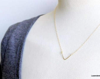 Tiny  Gold Chevron Necklace , Gold Necklace , Geometric Necklace , Triangle Necklace , Handmade geometric