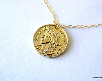 Coin necklace , Large Gold Coin Necklace , Gold Necklace ,  Gold Fill Chain , Disc Necklace , Simple Everyday Jewelry
