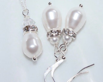 Swarovski White Drop Pearl Necklace and Earring Set, Bridesmaid Jewelry Set (also available in ivory)