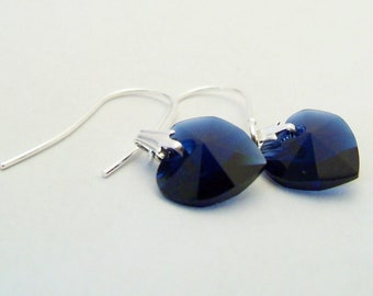 Six pairs Swarovski crystal heart deep blue earrings on silver plated surgical steel earwires for sensitive ears