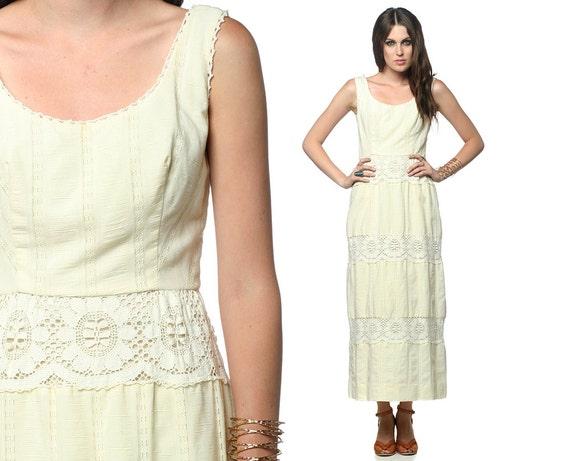 Maxi Dress Crochet Lace Bohemian Wedding LANZ 70s Hippie Boho Ivory 1970s Tiered Festival Vintage Romantic Long White Dress Small S