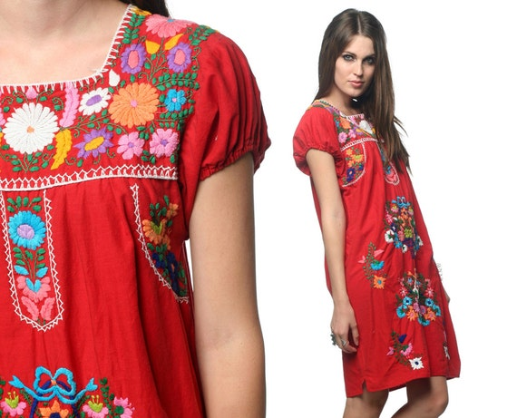 Embroidered Mexican Dress Mini Red 70s Hippie Boho 1970s Ethnic Bohemian Puff Sleeve 80s Floral Cotton Tunic Tent Dress Small Medium S M