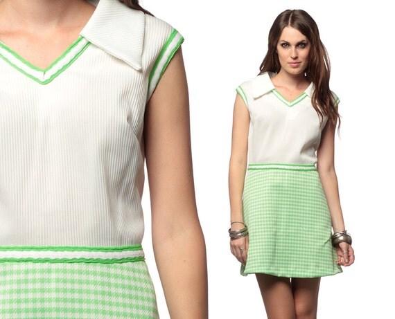 60s Preppy Dress Plus Size Mod Mini Collared Checkered Print