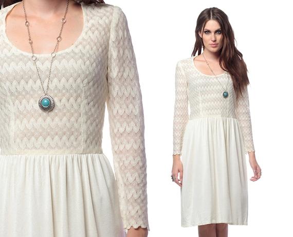 White Crochet Dress 70s Boho Mini Vintage Bohemian Chic 1970s Sheer Lace Scoop Neck Hippie Long Sleeve Knit MiniDress Small Medium