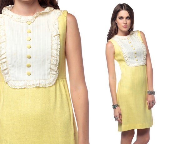 Mod Mini Dress 60s Dolly Ruffle Lace Bib 1960s Pale Yellow White Babydoll Vintage 70s Vintage Sixties Go Go Minidress Extra Small XS