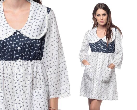 Peter Pan Collar 60s Mini Dress Babydolly Calico Floral White Navy Cotton Dolly Empire Waist Pockets Mini Dress Small Medium