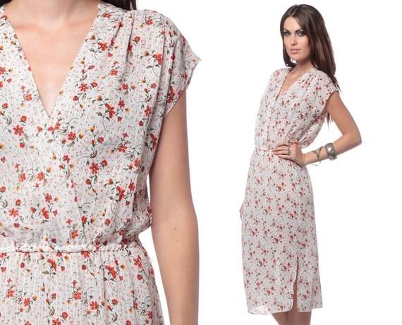 70s Wrap Dress Midi White Floral Calico Cap Sleeve 1970s Boho Chic Deep V Red Bohemian Vintage High Elastic Waist Retro Dress Medium