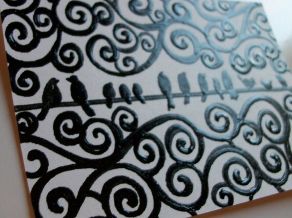 Abstract Birds Aceo Original Ink on Smooth Bristol Paper Aceo Sized Heather Montgomery Art