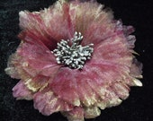 Gold and Purple red gauze fabric flower brooch, hair clip