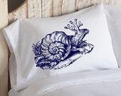 One (1) SNAIL creature Navy Blue deep sea tales Ocean Beach decor shell horse punk pulp white retro sailor Nautical Pillowcase pillow cover