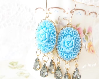 Vintage Jewel and Flower Earrings - Whimsical - Bridal - Bridesmaid