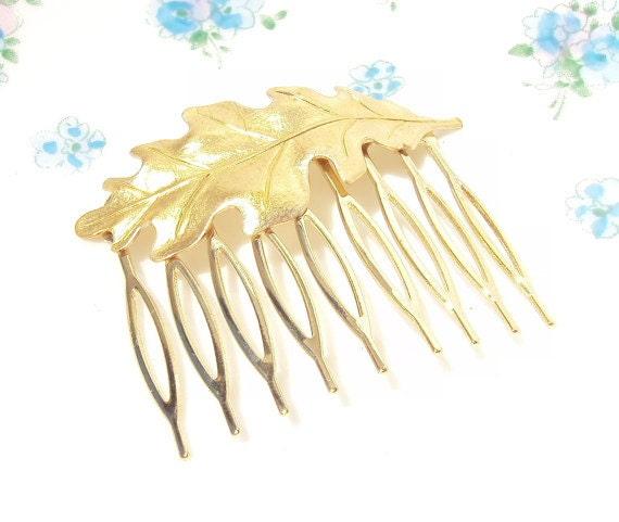 Gold Leaf Hair Comb - Oak leaf - Woodland Collection - Whimsical - Nature - Bridal