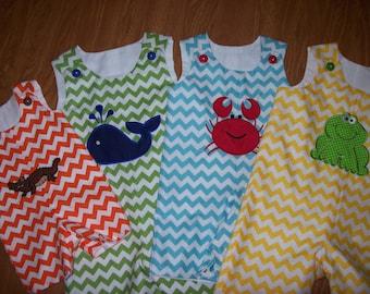 Summer fun 4 child set Boutique Jon-Jons,ROMPER,Shortalls or Longalls Custom choose yoru annimals