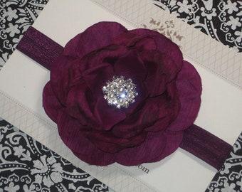 Deep Purple Flower Headband, Plum Rhinestone & Pearl Headband, Eggplant Headband Baby Headband, Toddler Headband - Newborn Headband