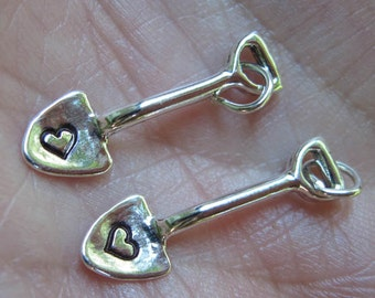 Sterling Silver Shovel Charm - With heart stamp on it, or without