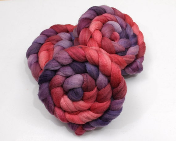 Polwarth/ Silk Roving - Hand painted Felting or Spinning Fiber