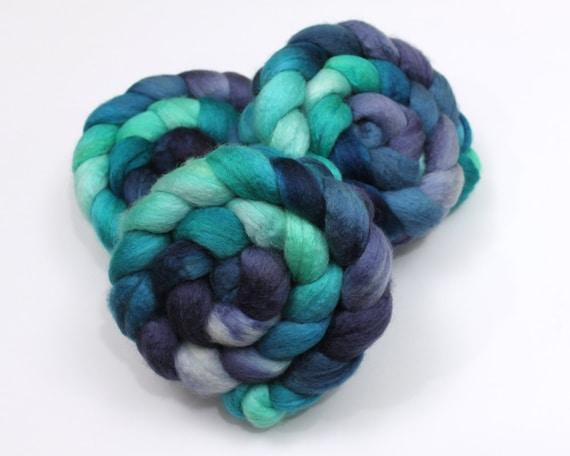 BFL Wool/ Silk Roving (75/25) - Hand Painted Felting or Spinning Fiber