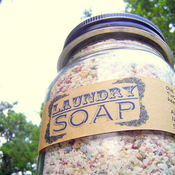 Powder Laundry Soap in a Mason Jar  - Handmade Laundry Soap  - NO detergents