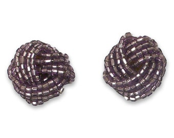 Vintage Glass Bead Knot Turban Small Button Post Earring PURPLE