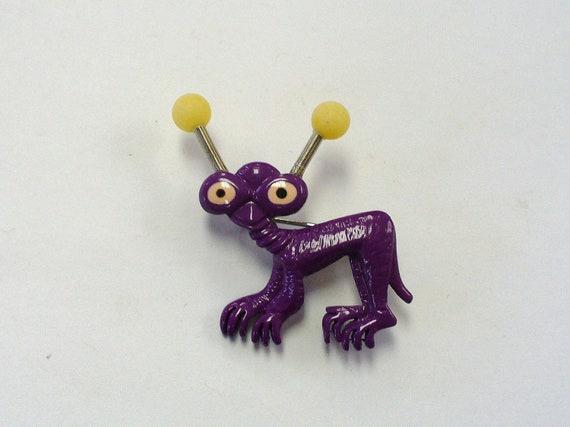 Vintage Purple Alien Pin Brooch DEADSTOCK