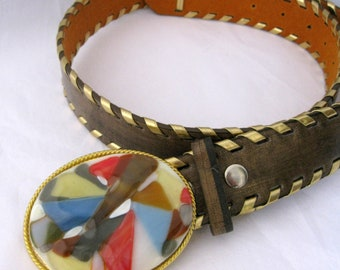 Art Glass Buckle Belt, handmade art glass, gold trim leather belt