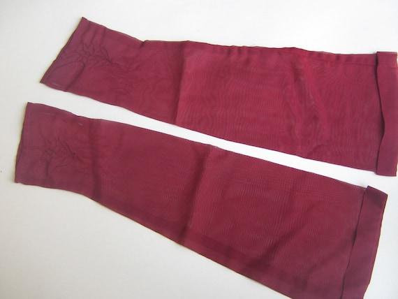 Vintage Ruby Red Sheer Fingerless Long Gloves Forties