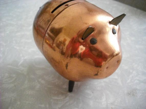 Vintage Copper Pig Piggy Bank Mid Century Minimalist