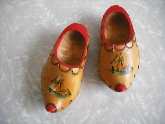 Vintage Shoes Wooden Clogs Miniature Holland Dutch Souvenir