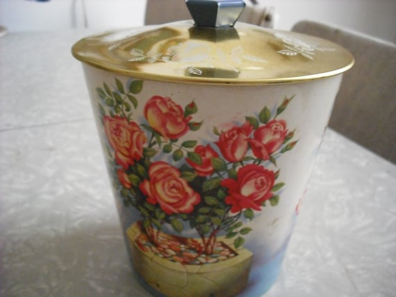 Vintage Candy Cookie Tin England Cottage Roses Floral