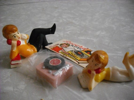 Vintage Cake Toppers 1950s Teenager Record Player Phone Boy Girl