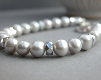 Paie Grey pearl and silver czech crystal beads