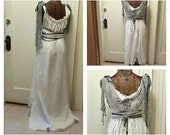 Haunted Steampunk Dress Maxi with Train Ghost Bride Scary Halloween Costume Spooky Full Length with Veil Custom Gothic White Zombie
