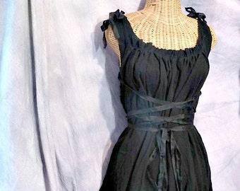 Little Black Corset Dress Cocktail Short, Midi, Maxi, Ren Faire Custom Elf, Fairy, Pixie, Renaissance Womens