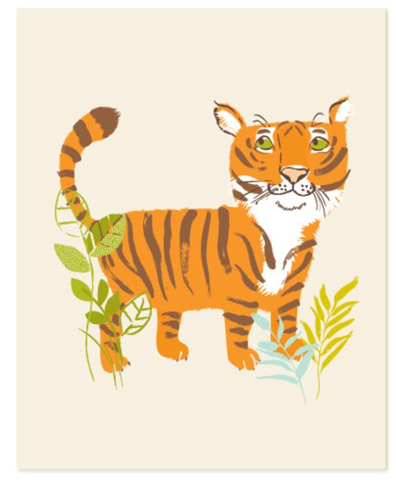 Tiger - safari zoo art print 8x10 - nursery art for children