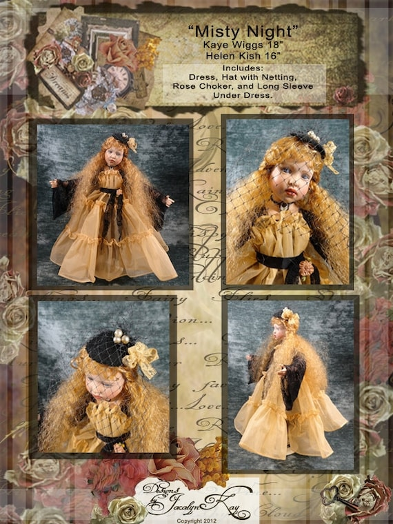 """Kaye Wiggs 18"""" bjd and Helen Kish 16"""" Doll Clothes E Pattern INSTANT DOWNLOAD  Misty Night  ET"""