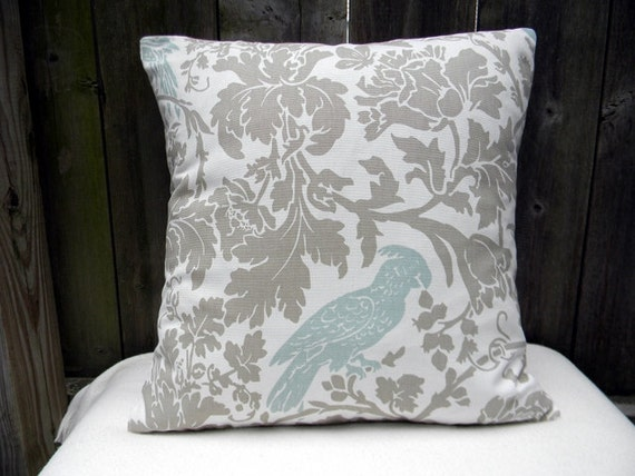 """Premier Prints Barber Taupe/Robin Egg Blue  Pillow Cover Sofa Pillow Cushion Cover 16""""X16"""""""