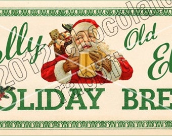 Vintage Christmas Tag Label Printable Holiday Brew Digital Download Collage Sheet Graphics Homemade Cards Scrapbook
