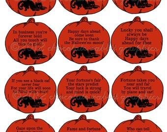 Vintage Halloween Party Fortune Teller Tags Pumpkin Digital Collage Sheet Image INSTANT DOWNLOAD