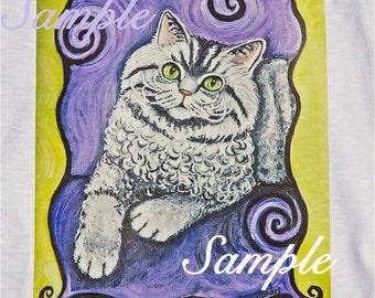 Cat Sweatshirt, Selkirk Rex curly haired cat,sweatshirt