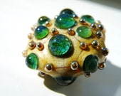 "Handmade Lampwork Glass Focal Bead SRA Nelli Rees (1) ""Turquoise Jewels"" Loose organic with silver rich reactive glass"