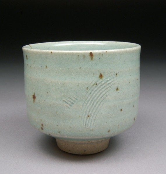 Satin Celadon Glazed Yunomi Tea Cup with Natural Iron Spots