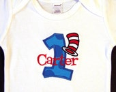 First Birthday Boy Shirt, Cat in the Hat, Dr. Seuss,, Bodysuit, Personalized