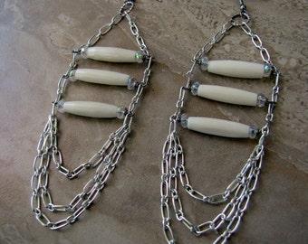 Beaded Chain Earrings - White Chandelier Earrings, Silver Chain Earrings - Unchained