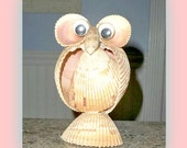 SALE OWL of Shell HUGE Vintage Shell Owl with Googley Eyes /Large Shell Owl