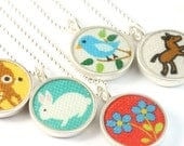CHOOSE YOUR OWN - Reversible mini fabric necklace